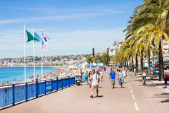 People walking by the Promedade des Anglais, Nice, France Stock Images