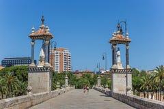 People walking the Puente del Mar bridge in Valencia Stock Image