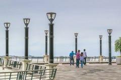 People Walking at Puerto Santa Ana Boardwalk in Guayaquil Ecuado Stock Images