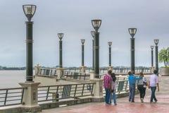 People Walking at Puerto Santa Ana Boardwalk in Guayaquil Ecuado Stock Photography