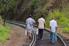 People walking on the railway in Sri Lanka Royalty Free Stock Photo