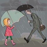 People walking at rainy weather Stock Image