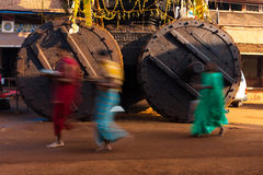 People Walking Ratha Chariot Wheels Blurred Royalty Free Stock Photos