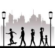 People walking recreation city park lamppost Stock Photo