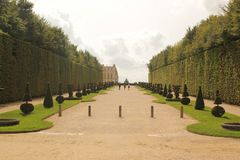 Paris, French - August 26,2017: Beautiful landscape with green trees at two sides stock photography