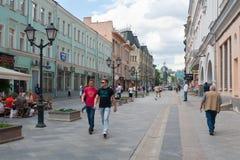 People walking on Rozhdestvenka street Royalty Free Stock Photos