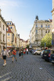 People walking on Rytirska Street in Old Town, Prague Royalty Free Stock Image