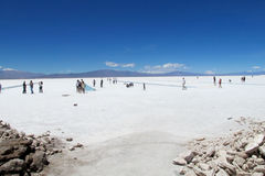 People walking on a salt lake Stock Photos