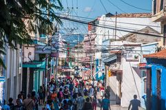 People walking in Santiago de Cuba Stock Images