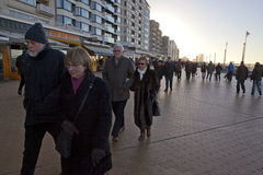 People walking the seafront, Ostend Stock Photos