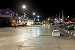 People walking on seafront in Yalta city in night Stock Photos
