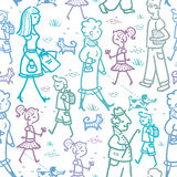 People walking seamless pattern background and Stock Photo