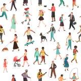 People walking seamless pattern. Women men children group person walk city crowd family park outdoor activity stock illustration