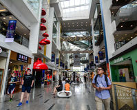 People walking at Shopping Mall at Clark Quay in Singapore Stock Images