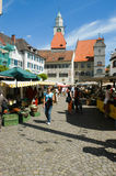 People walking and shopping at the market of Ueberlingen Stock Photo