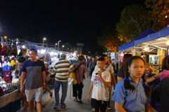 People walking and shopping at the night market Stock Photos