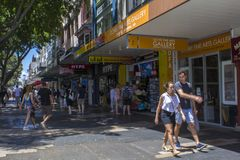 People walking in shopping street area in Manly, Australia stock images