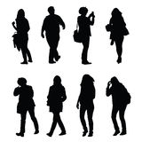 People walking silhouette  set one Royalty Free Stock Images