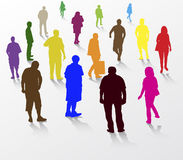 People walking silhouettes Royalty Free Stock Photography
