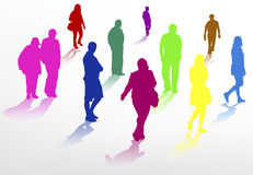People walking silhouettes Royalty Free Stock Photos