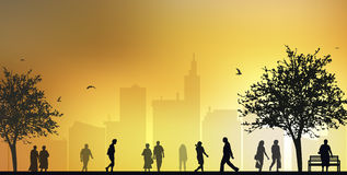 People walking silhouettes Royalty Free Stock Image