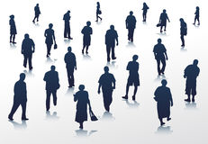 People walking silhouettes Stock Photography