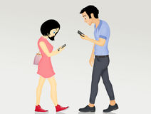 People walking with smartphones. Illustration of people walking with smartphones Royalty Free Stock Images