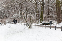 People walking in the snow Stock Photo