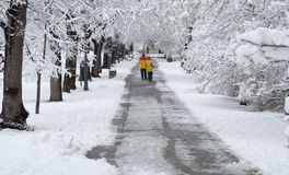 People walking in during snowfall in the park in Sofia, Bulgaria, Dec 29, 2014 Stock Images