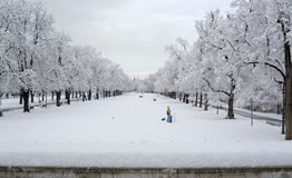 People walking in during snowfall in the park in Sofia, Bulgaria, Dec 29, 2014 Stock Photography
