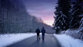 People Walking Through Snowy Woods At Sunset stock video footage