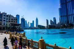 Dubai Fountain Bridge royalty free stock photography