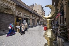 People walking through the souq in old Cairo, Egypt. Royalty Free Stock Image