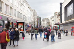 People walking in the St John Street, Liverpool One Stock Image