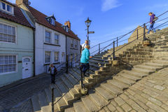 People walking the 199 steps whitby Stock Photography