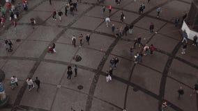 People walking on the street - aerial in 4K stock video