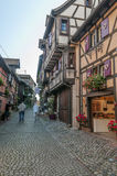 People walking on a street in Alsace Royalty Free Stock Photo
