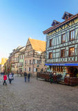 People walking on a street in Alsace Stock Photography