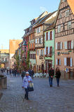 People walking on a street in Alsace Royalty Free Stock Images