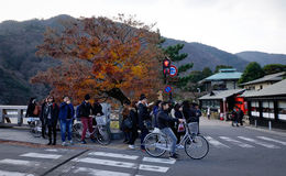 People walking on street at Arashiyama district in Kyoto, Japan Stock Photography