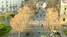 People walking on the street Barcelona Rambla stock video