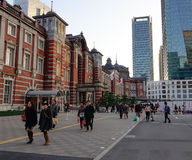 People walking on the street at business district in Tokyo, Japan.  Royalty Free Stock Image