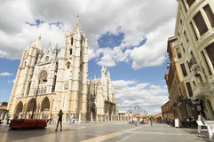 People walking on the street in city center of Leon visiting the Cathedral, in Castilla, Camino de Santiago road Stock Photo