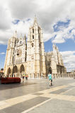 People walking on the street in city center of Leon visiting the Cathedral, in Castilla, Camino de Santiago road Royalty Free Stock Images