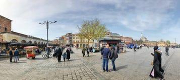 People walking on street in Eminonu bazaar in Istanbul, Turkey Royalty Free Stock Photos