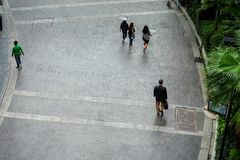 People walking on the street. High angle view bird eye view royalty free stock photos