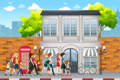 People walking on the street. Illustration stock illustration