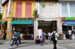 People walking on the street in Little India, Singapore Royalty Free Stock Image
