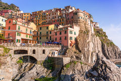 People walking on the street of Manarola village in Italy Royalty Free Stock Images