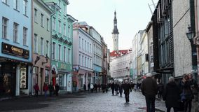 People walking on the street in old city stock footage